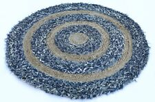 "33 "" Braided Hand-Weaved Reversible Jute Cotton Round Area Rug/Floor Mat"