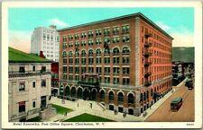 1940s Charleston, West Virginia Postcard HOTEL KANAWHA Post Office Square Linen