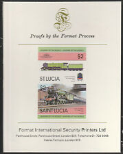 St Lucia (2010) Locomotives #1 Flying Scotsman  imperf on Format Int PROOF  CARD