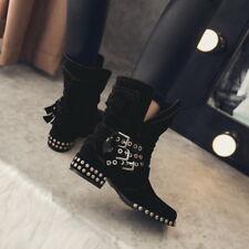 Original Damen Schuhe Stiefeletten Ankle Boots Punk mit Nieten Stiefel Gr:2-48