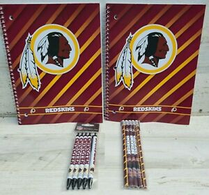 Washington Redskins Official NFL 2 Large Notebooks,5 pens and 5 pencils School