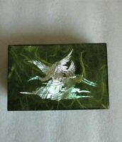 Vintage LACQUER Box KOREAN EGRETS CRANES HERONS In Flight Mother of Pearl Inlay!