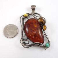 Vtg LARGE Sterling Silver Orange Baltic Amber Turquoise Modernist Pendant LHA4