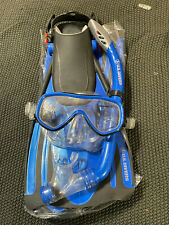 Us Divers Scuba Dive Set Kit Snorkel + Mask + Fins + Bag - Large / Xl Blue
