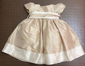Strasburg girls size 3 months ivory 100% silk dress