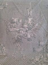 Antique Style  French Toile De Jouy  Curtain Fabric  Les Enfants Cherubs Green