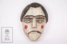 Antique Korean Carved Wooden Mask - Red, Black & White - Korea
