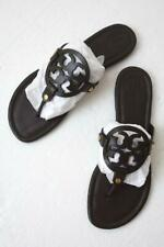 New TORY BURCH Miller Chocolate Brown Leather T-Strap Logo Flat Sandal Sz 9M