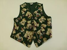 Ugly Christmas Vest White Stag Womens Medium Green Teddy Bear Great Condition