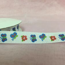 """5 yards 5/8"""" grosgrain ribbon with butterfly and flowers (thin stiff texture)"""
