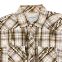 Banana Republic Mens Western Pearl Snap Shirt Large Slim Fit Brown Plaid Cotton