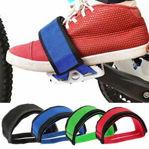 2Pc Fixed Gear BMX MTB Bike Bicycle Adhesive Pedal Toe Clip Strap Belt Anti Slip