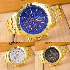 Luxury Men's Date Gold Stainless Steel Band Quartz Analog Business Wrist