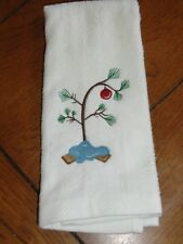 White Embroidered Finger Tip Towel - Christmas - Charlie Brown Christmas Tree