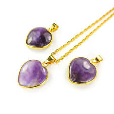 Amethyst Crystal Heart Necklace - Petite Purple Pendant - Gold  (Y3)