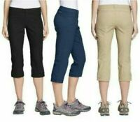 Eddie Bauer Ladies' Rainier Capri Stretch Mid Rise Casual Active Hiking Pants