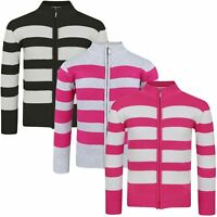 Girls Striped Knitted Jumper Kids Long Sleeve Zip up Sweater Knit Top 3-12 Years