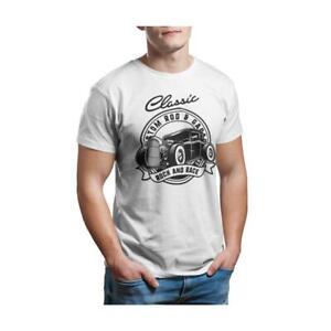 Classic Hot Rod Rocker Garage - Unisex White T-Shirt - Geek Retro Fun Kitsch Cot