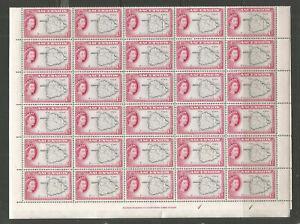 ASCENSION  1956  SG58  1D BLACK MAGENTA FULL SHEET OF 60  UNMOUNTED MINT