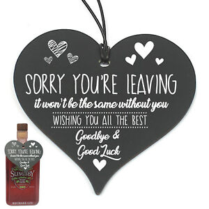 #786  Sorry You're Leaving Work Office Colleague Gift Hanging Heart Plaque Gin
