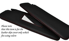 RED STITCH 2X SUN VISORS LEATHER COVERS FITS FIAT 500 & FIAT 500 ABARTH 2014+
