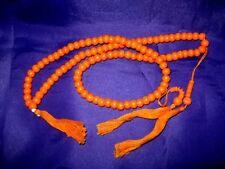 MAL01 Mala Meditation Beads + FREE Bag/Pouch: Polished Wood Orange