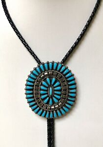 Vintage Navajo Sterling Turquoise Bolo Signed