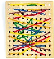Wooden Threading Board Fine Motor Skills Training Preschool Toy