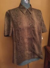 Women's Saks Fifth Ave Real Clothes Button Front Shirt Top XL Snake Print Olive