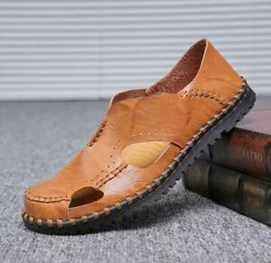 Mens Summer Casual Pu Leather Closed Toe Shoes Fisherman Slip On Flats Sandals
