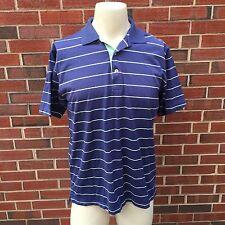 Peter Millar Cotton Mens Medium Short Sleeve Striped Casual Blue Polo Shirt