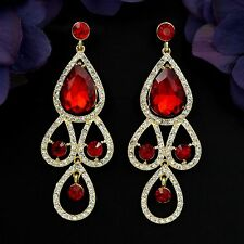 New 18K Gold GP Red Crystal Rhinestone Chandelier Drop Dangle Earrings 04197