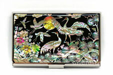 Mother of Pearl Metal Crane Business Name ID Card Case Money Cash Holder Wallet