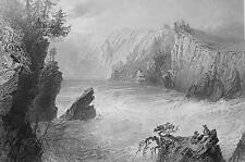 CANADA Split Rock on St. John River - BARTLETT Antique Print Engraving