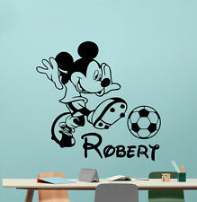 Personalized Mickey Mouse Wall Decal Soccer Boy Vinyl Sticker Decor Mural 113crt
