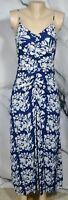 BAILEY 44 Midnight Blue Multicolor Fresco Floral Batik Print Maxi Dress Small