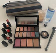 10 Pc LANCÔME Set Make-Up Lipsticks Eye & Face Palette Bi-Facial Brush Full-size