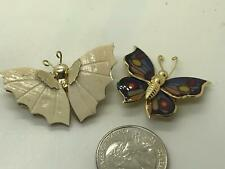 Shell Vintage Gold Pin Brooch D-4629 Lot of 2 Butterflies Enamel and