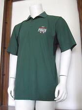 M Mens 2007 World Series of Poker WSOP Polo Shirt Green Black 100% Polyester EuC