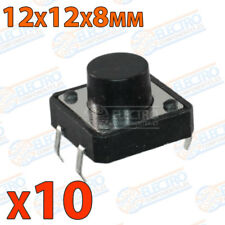 10x Pulsador 12x12x8 8mm 12mm PCB Tactile Push Button Switch Momentary B3F negro