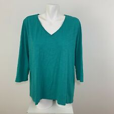 Chico's The Ultimate Tee Womens 3/4 Sleeve Green V-Neck High Low Top Size 3