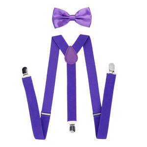 Fashion Suspenders and Bow Tie Set Baby Toddler Kids Boys Girls Children Plain