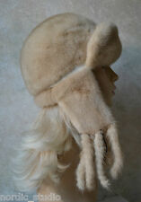 """Russian GENUINE MINK real FUR HAT with EARS and POMPOMS, Ivory Beige, 22"""""""