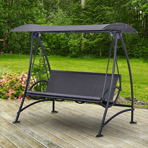 Outsunny 3 Seater Rattan Swing Chair Wicker Garden Swing Bench Adjustable Canopy