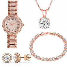 Women Set Roman Numeral Watch Crystal Necklace Earrings in Gold Plated ITALY