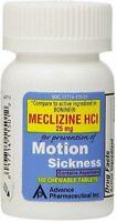 Meclizine 25 mg Generic Bonine Motion Sickness 100 Chewable Tablets per Botlle