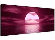 Plum Cheap Canvas Wall Art of Seascape Sunset  - 120cm x 50cm - 1004