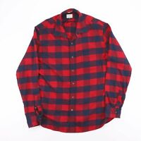 Vintage J.CREW Classic Red & Blue Checked Cotton Flannel Shirt Size Mens Large