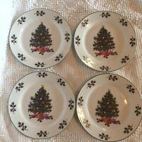 GIBSON NOEL MORNING CHRISTMAS TREE DESSERT PLATES SET OF 4