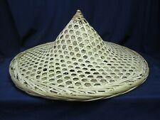 Vtg 1960's Woven Rattan Straw Coolie Sun Hat Rice Paddy Japan Vietnamese